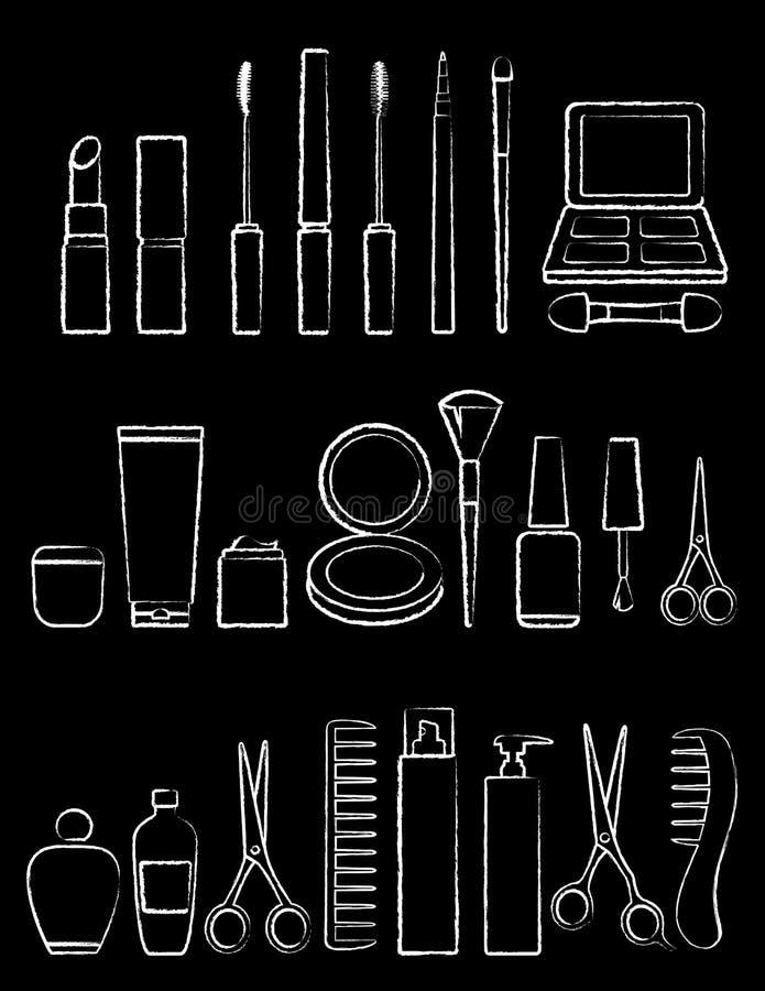 Sistema del icono de la belleza de la tiza stock de ilustración