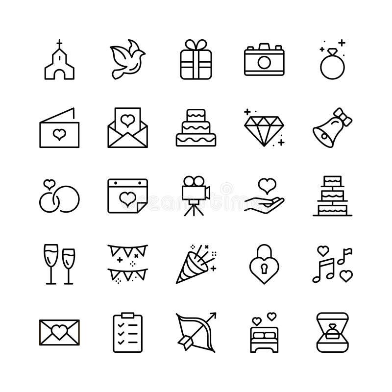 Sistema del icono de la boda stock de ilustración