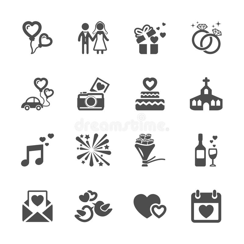 Sistema del icono de la boda, vector eps10