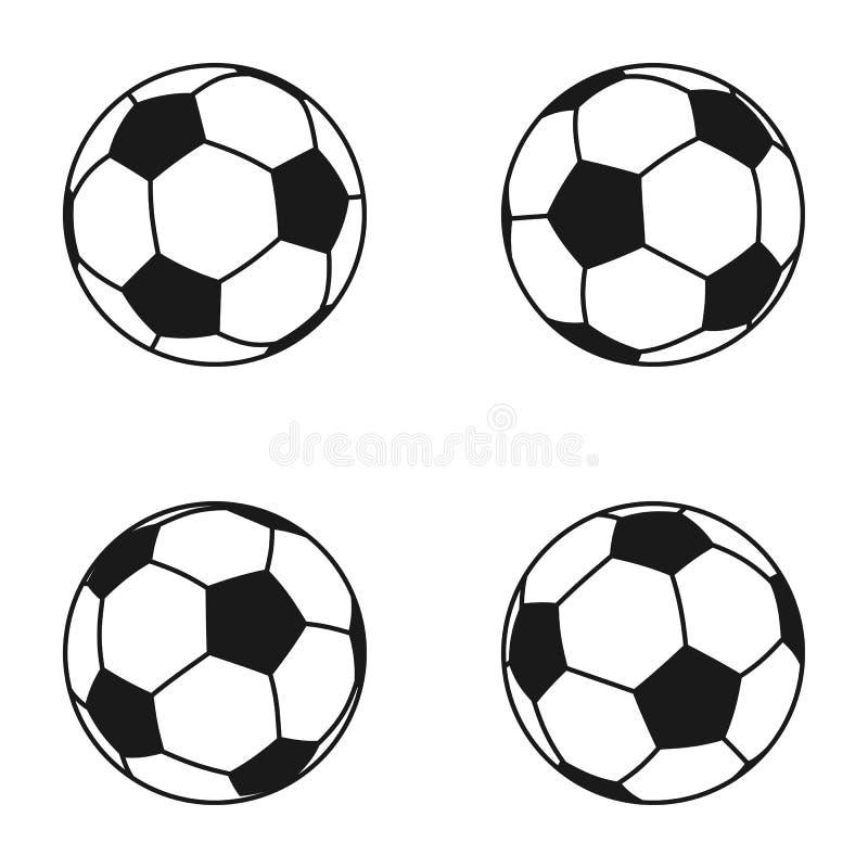 Sistema del icono de la bola para el fútbol europeo Símbolo del fútbol, muestra stock de ilustración