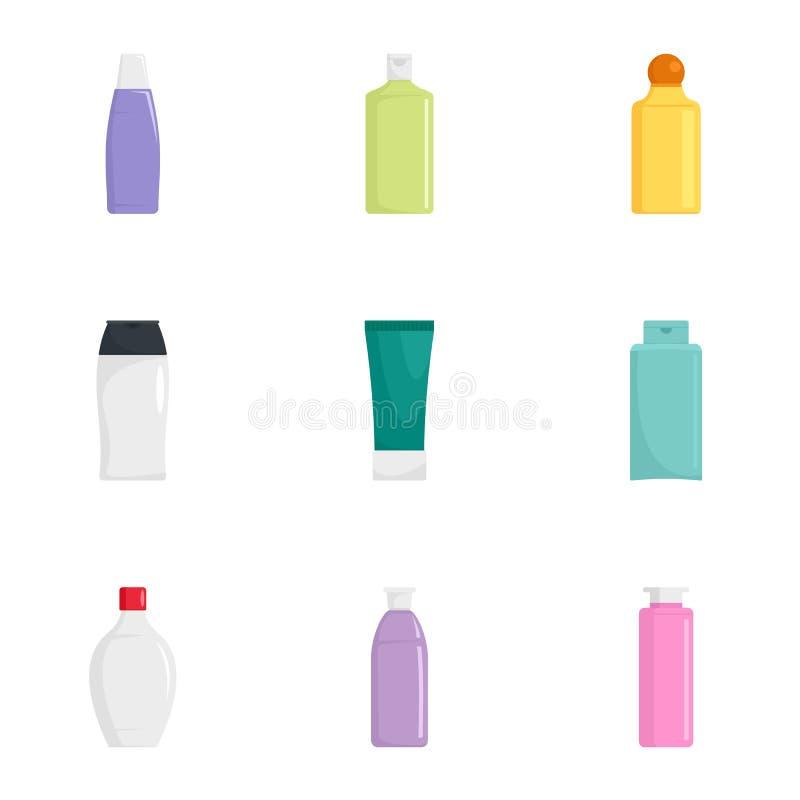 Sistema del icono de la botella del cuidado de piel, estilo plano ilustración del vector