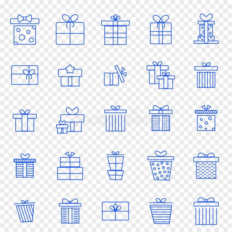 Sistema del icono de la caja de regalo de la Navidad 25 iconos del vector embalan ilustración del vector
