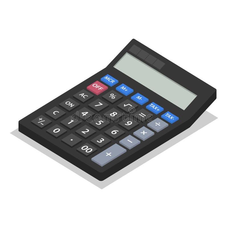 Sistema del icono de la calculadora, estilo isométrico ilustración del vector