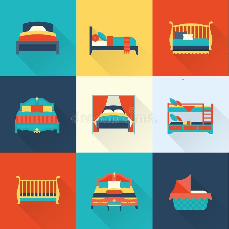 Sistema del icono de la cama del vector stock de ilustración