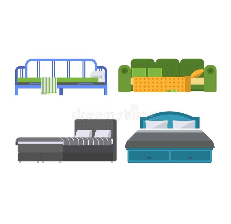 Sistema del icono de la cama del vector libre illustration