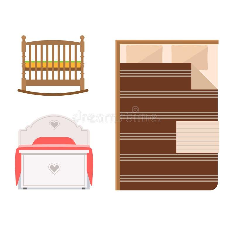 Sistema del icono de la cama del vector ilustración del vector