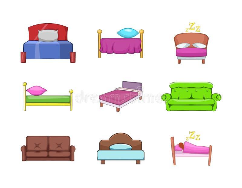 Sistema del icono de la cama, estilo de la historieta ilustración del vector