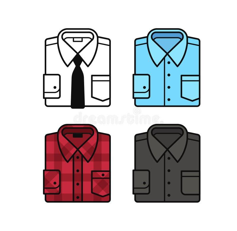 Sistema del icono de la camisa ilustración del vector