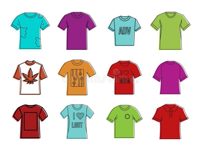 Sistema del icono de la camiseta, estilo del esquema del color libre illustration
