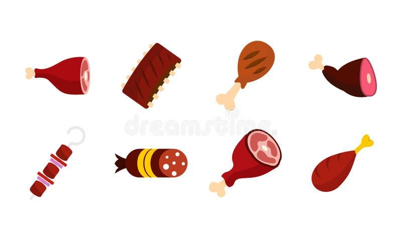 Sistema del icono de la carne, estilo plano stock de ilustración