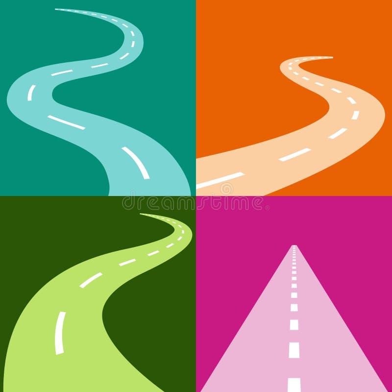 Sistema del icono de la carretera con curvas libre illustration