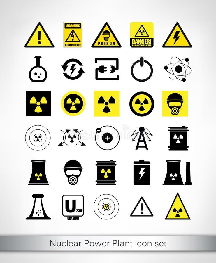 Sistema del icono de la central nuclear stock de ilustración
