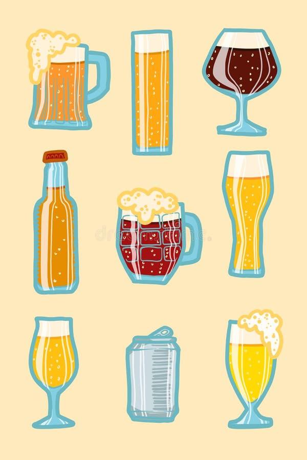 Sistema del icono de la cerveza del arte, estilo dibujado mano ilustración del vector