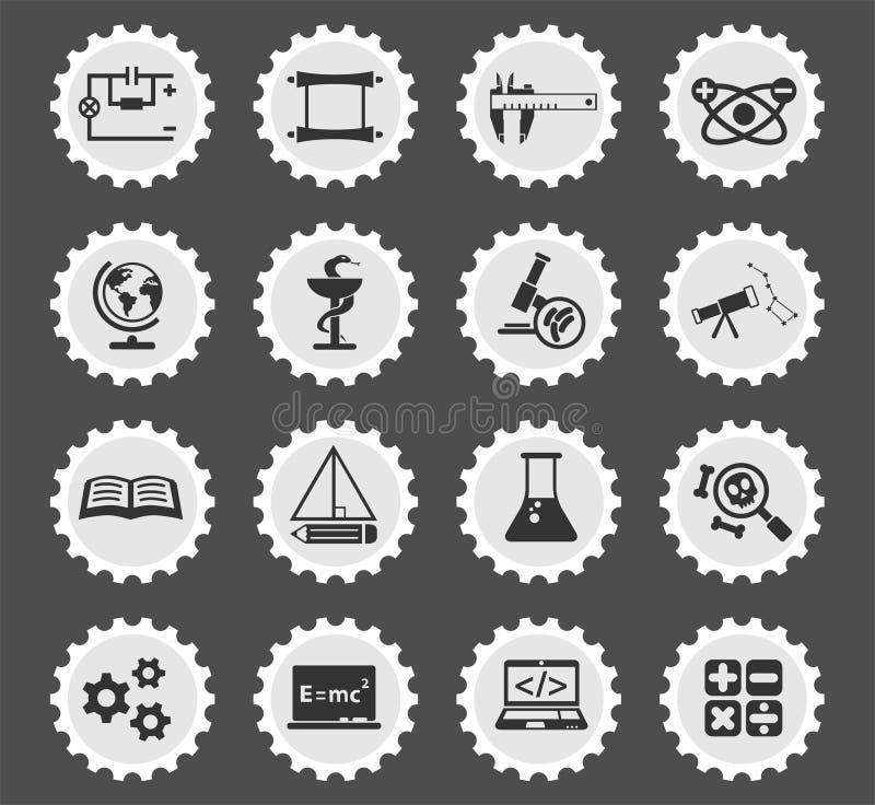 Sistema del icono de la ciencia stock de ilustración