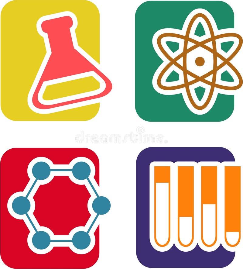 Sistema del icono de la ciencia ilustración del vector