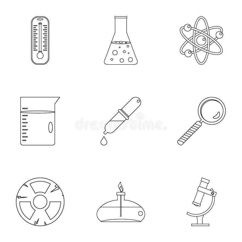 Sistema del icono de la ciencia de la química, estilo del esquema ilustración del vector