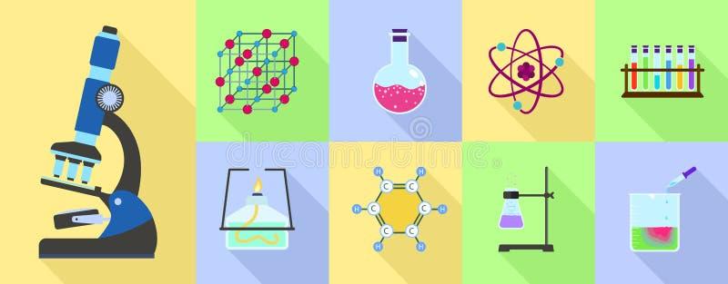 Sistema del icono de la ciencia de la química, estilo plano stock de ilustración