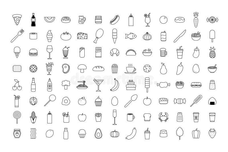 Sistema del icono de la comida de la historieta del vector stock de ilustración