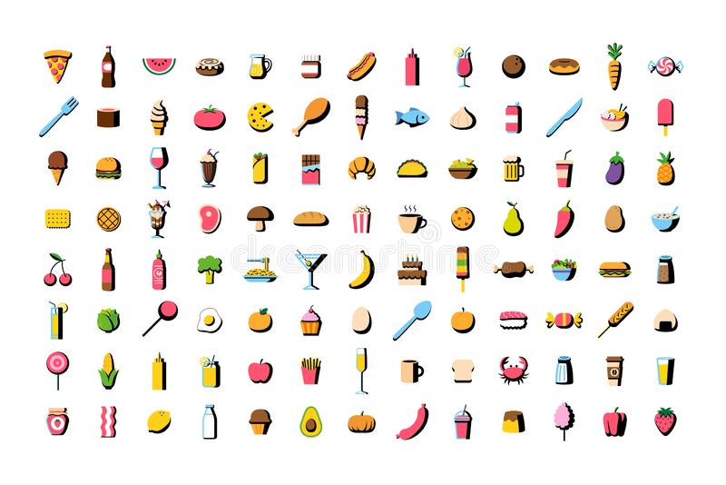 Sistema del icono de la comida de la historieta del vector libre illustration