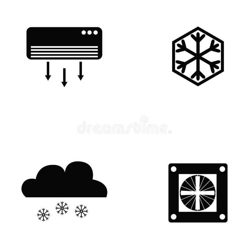 Sistema del icono de la condición del aire stock de ilustración