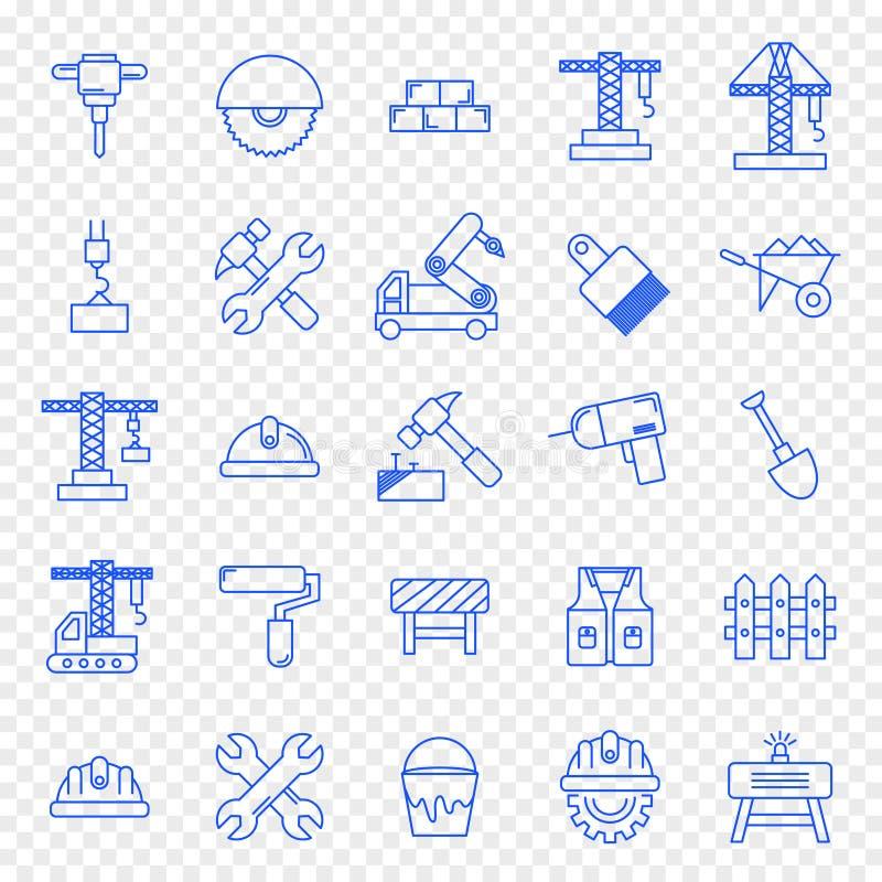 Sistema del icono de la construcción 25 iconos stock de ilustración
