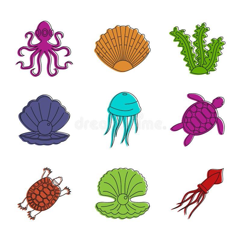 Sistema del icono de la criatura del mar, estilo del esquema del color ilustración del vector