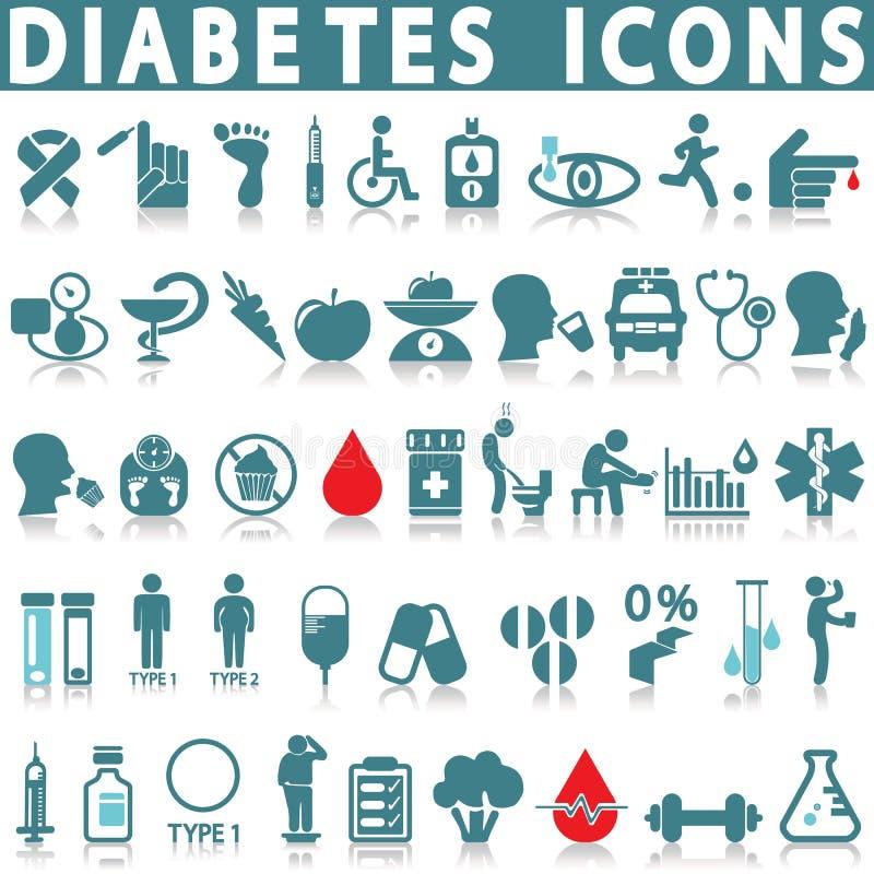 Sistema del icono de la diabetes ilustración del vector