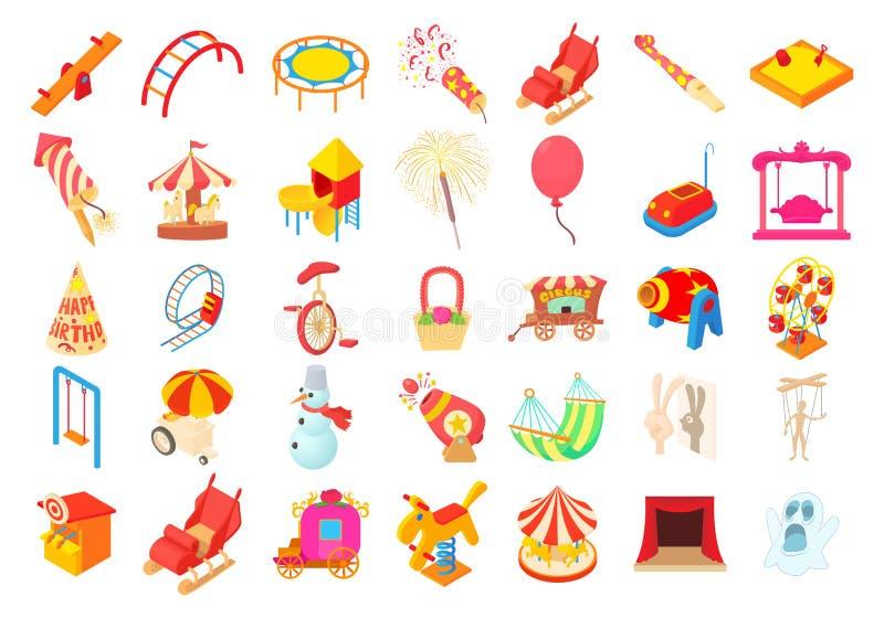 Sistema del icono de la diversión del niño, estilo de la historieta stock de ilustración