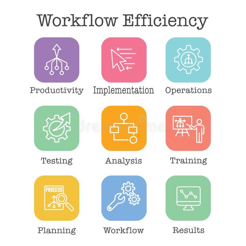 Sistema del icono de la eficacia del flujo de trabajo - tiene operaciones, procesos, la automatización, etc libre illustration