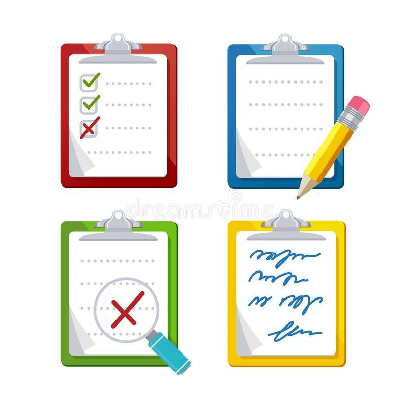Sistema del icono de la encuesta sobre los tableros de instrumentos de la lista de control Vector libre illustration