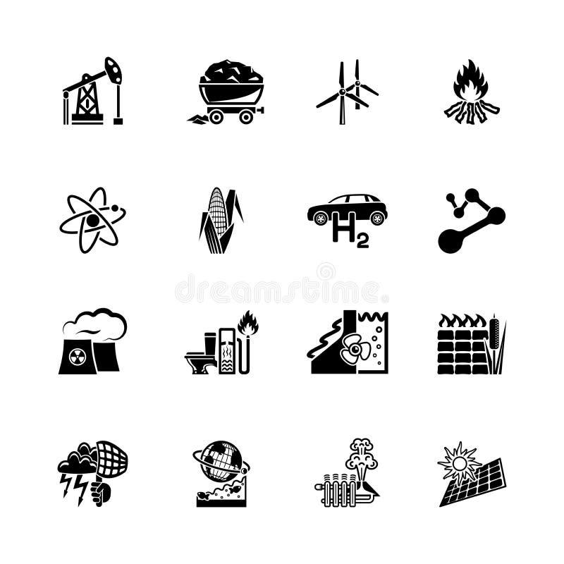 Sistema del icono de la energía renovable y alternativa stock de ilustración