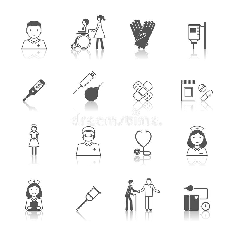 Sistema del icono de la enfermera ilustración del vector