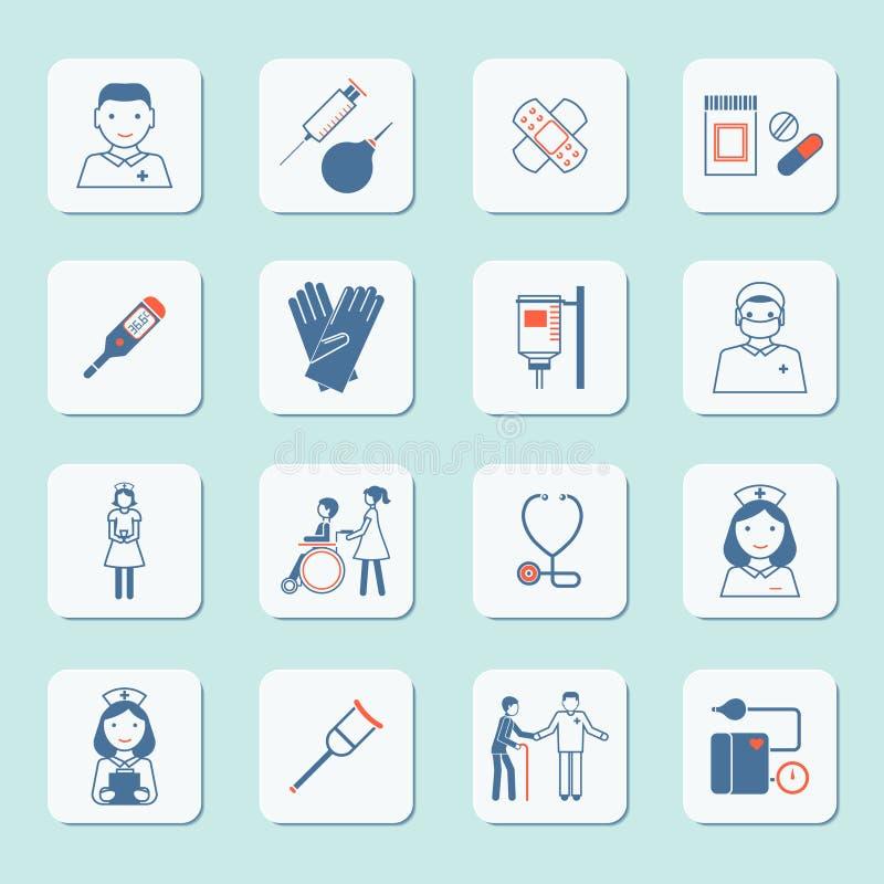 Sistema del icono de la enfermera stock de ilustración