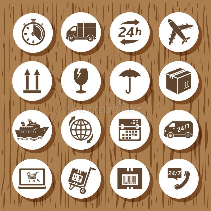 Sistema del icono de la entrega ilustración del vector