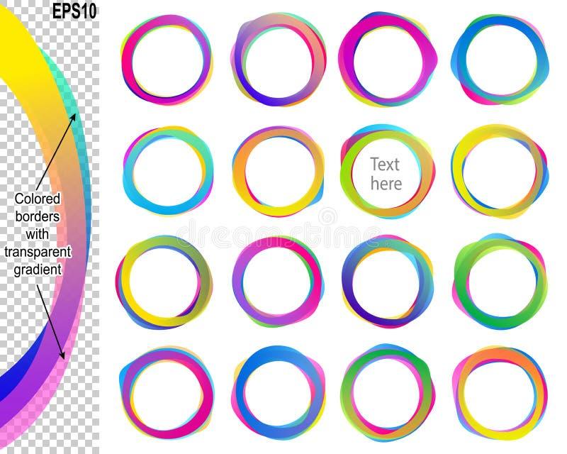 Sistema del icono de la etiqueta engomada de la bandera de la gota de Ring Speech Bubble Text Balloon stock de ilustración