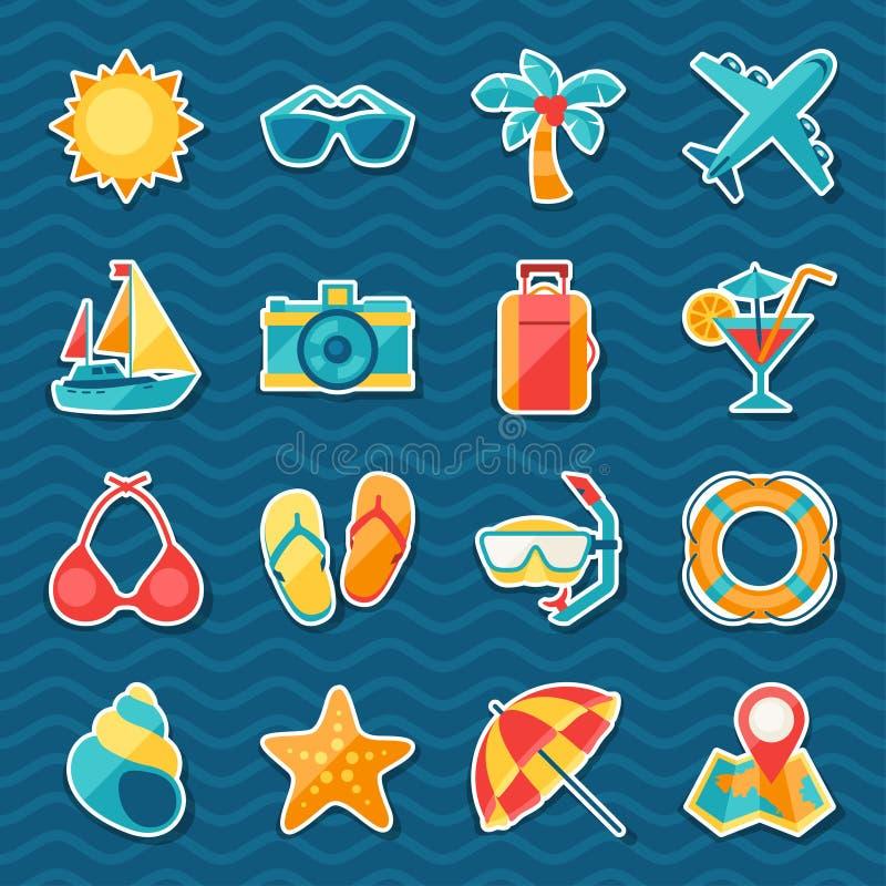 Sistema del icono de la etiqueta engomada del viaje y del turismo ilustración del vector