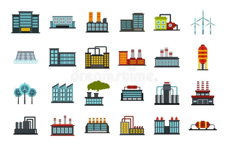 Sistema del icono de la fábrica, estilo plano libre illustration