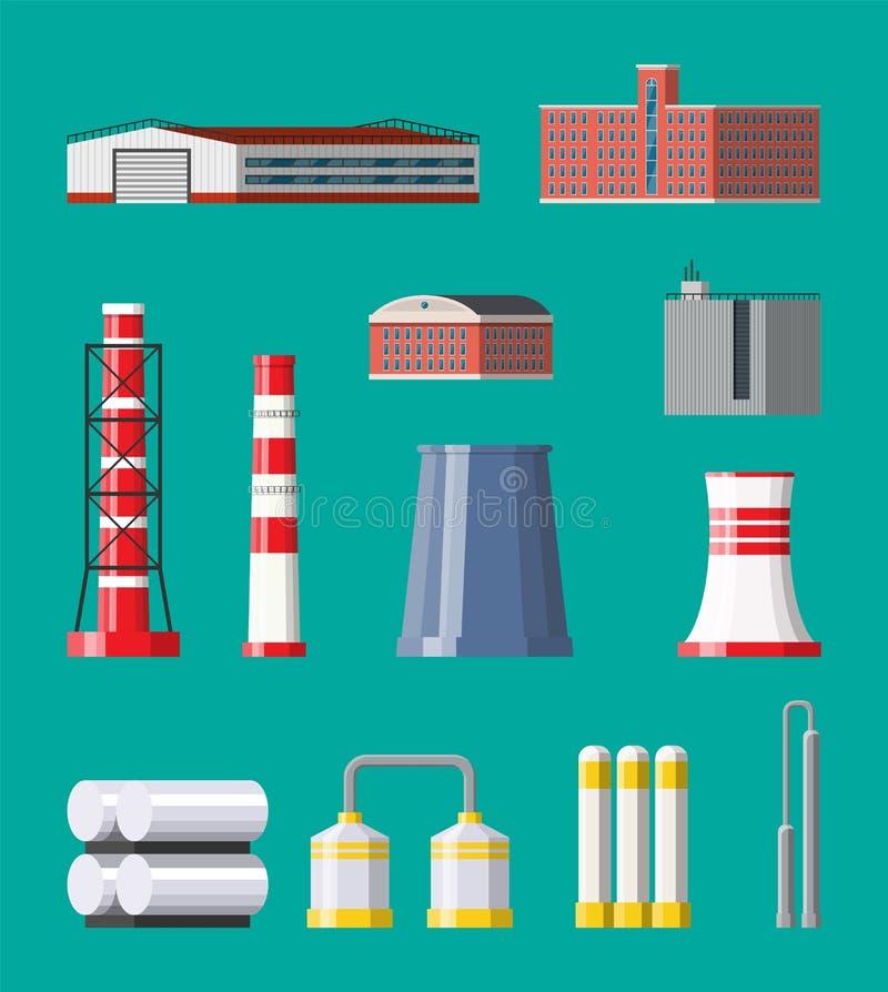 Sistema del icono de la fábrica Fábrica industrial, central eléctrica stock de ilustración