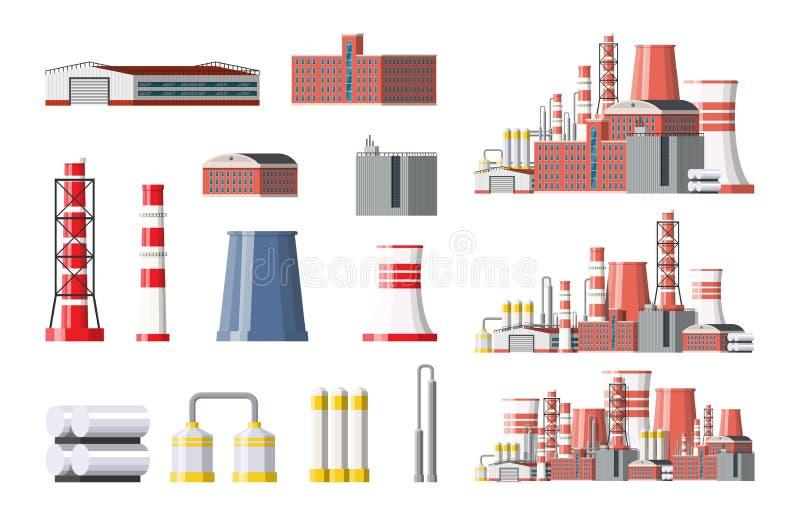 Sistema del icono de la fábrica Fábrica industrial, central eléctrica ilustración del vector