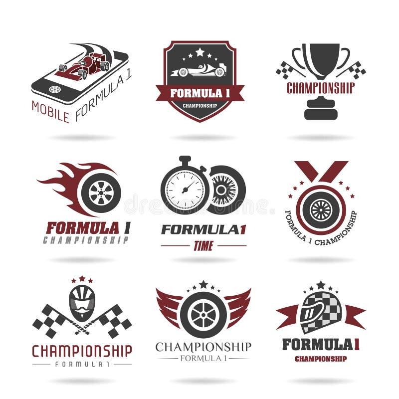 Sistema del icono de la fórmula 1, iconos y etiqueta engomada - 2 del deporte libre illustration