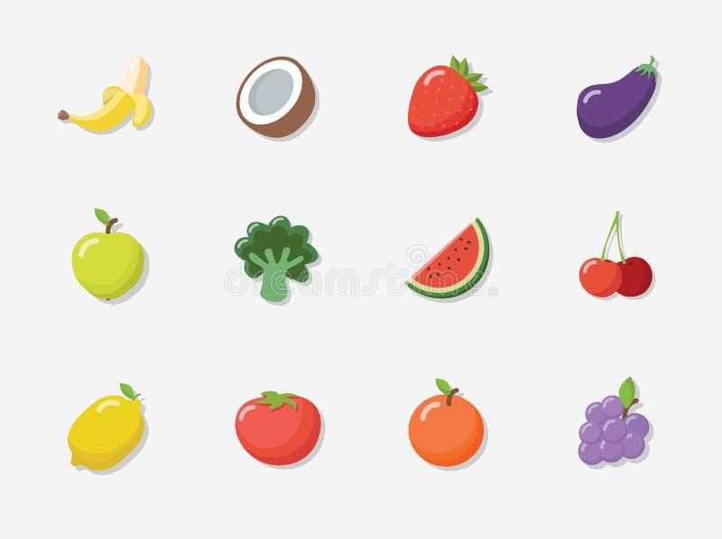 Sistema del icono de la fruta del vector ilustración del vector