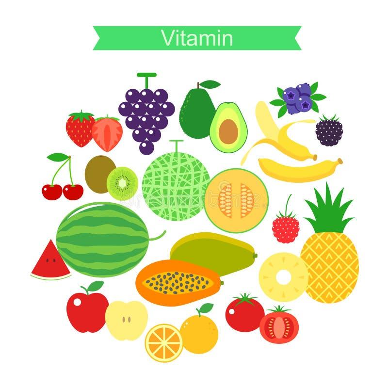 Sistema del icono de la fruta, vector libre illustration