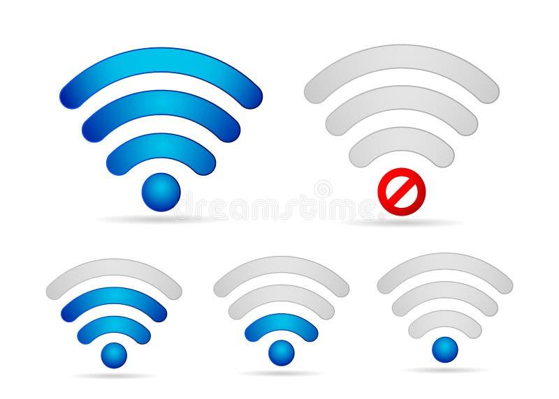 Sistema del icono de la fuerza de señal de Wifi stock de ilustración