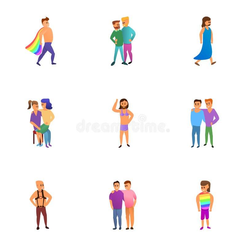 Sistema del icono de la gente de Lgbt, estilo de la historieta libre illustration