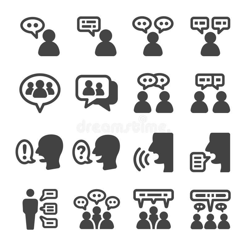Sistema del icono de la gente que habla ilustración del vector