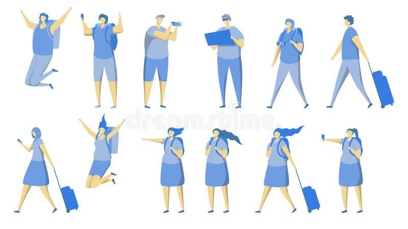 Sistema del icono de la gente del viaje, ejemplo aislado plano del vector ilustración del vector