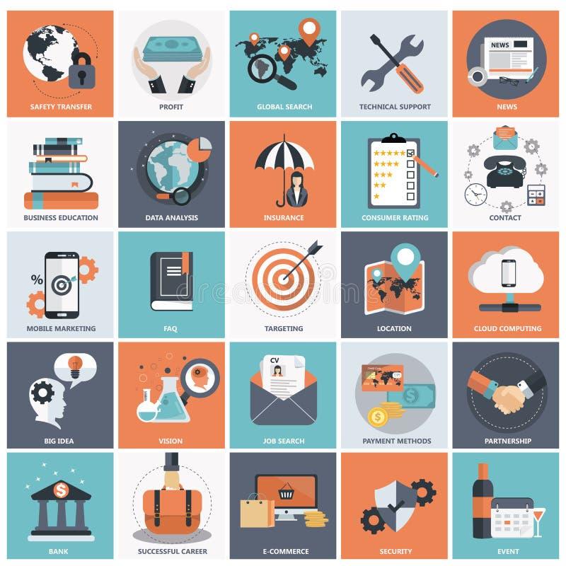 Sistema del icono de la gestión de negocio ilustración del vector