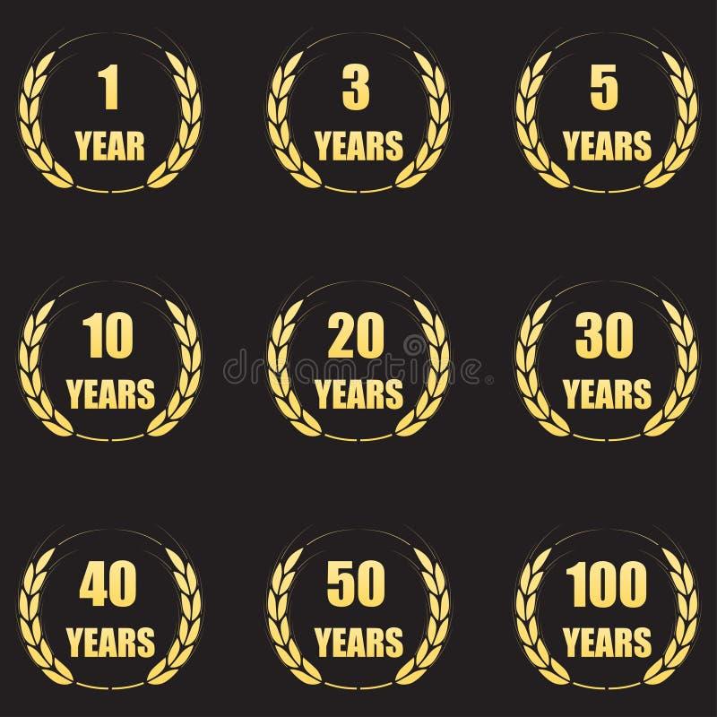 Sistema del icono de la guirnalda del laurel del aniversario Símbolos del aniversario del oro aislados en fondo negro 1,3,5,10,20 ilustración del vector
