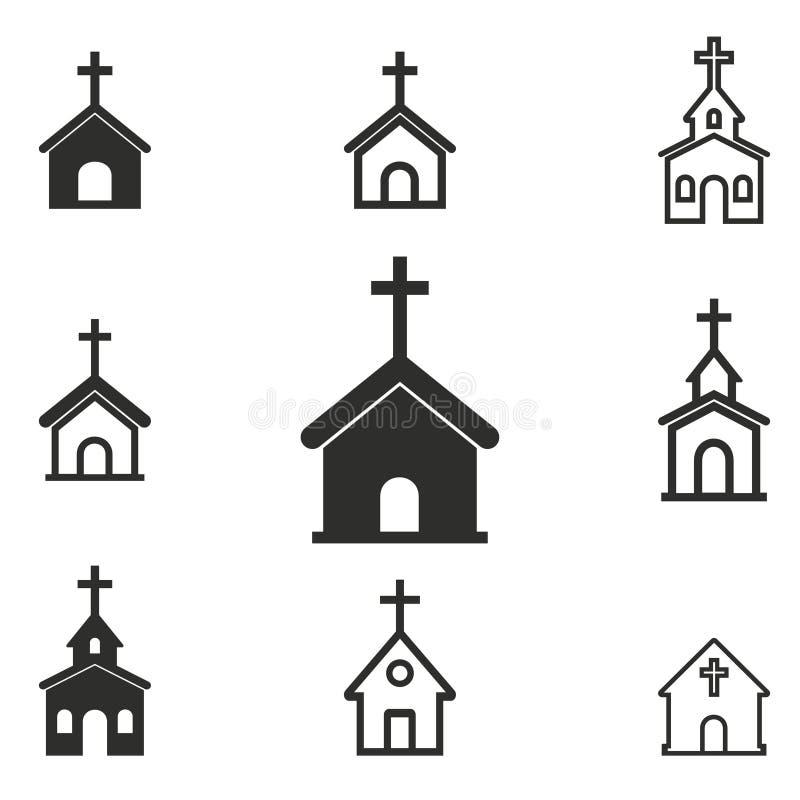 Sistema del icono de la iglesia stock de ilustración
