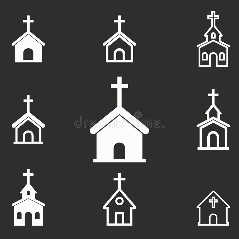 Sistema del icono de la iglesia ilustración del vector